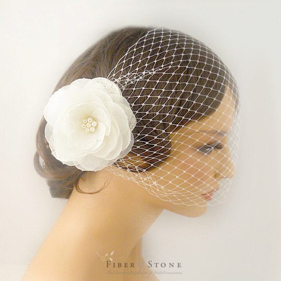 Wedding - Bird Cage Veil,  Flower Cage Veil, Bridal Veil, Short Veil, Wedding Veil,  Flower Headpiece Wedding Hair Accessory, Bridal Hair Accessory