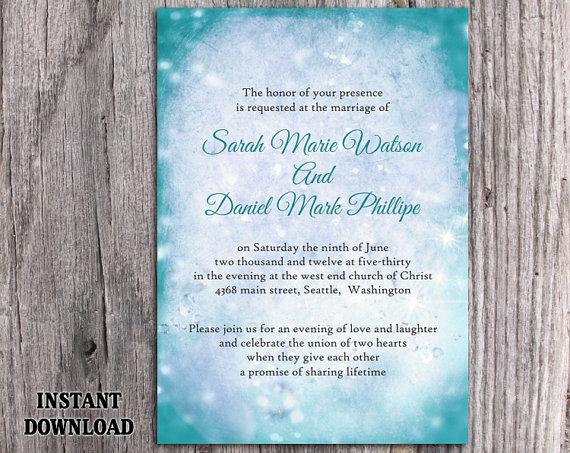Свадьба - DIY Rustic Wedding Invitation Template Editable Word File Instant Download Printable Invitation Teal Wedding Invitation Blue Invitation