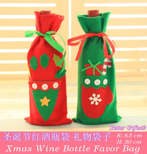 Свадьба - Bottle Holder Favor Bag RED Santa Claus BETER-HH105 Christmas Day