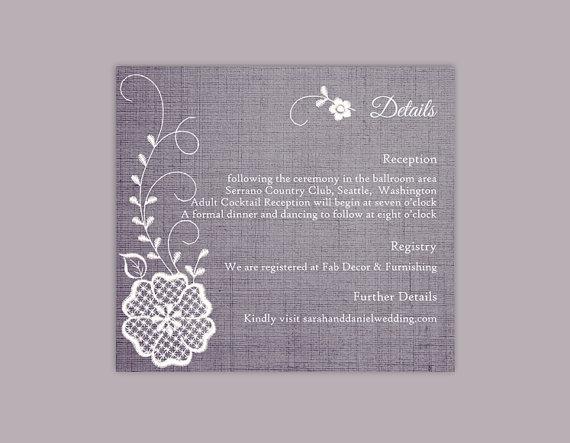 Свадьба - DIY Lace Wedding Details Card Template Editable Word File Download Printable Vintage Floral Details Card Blue Rustic Enclosure Card