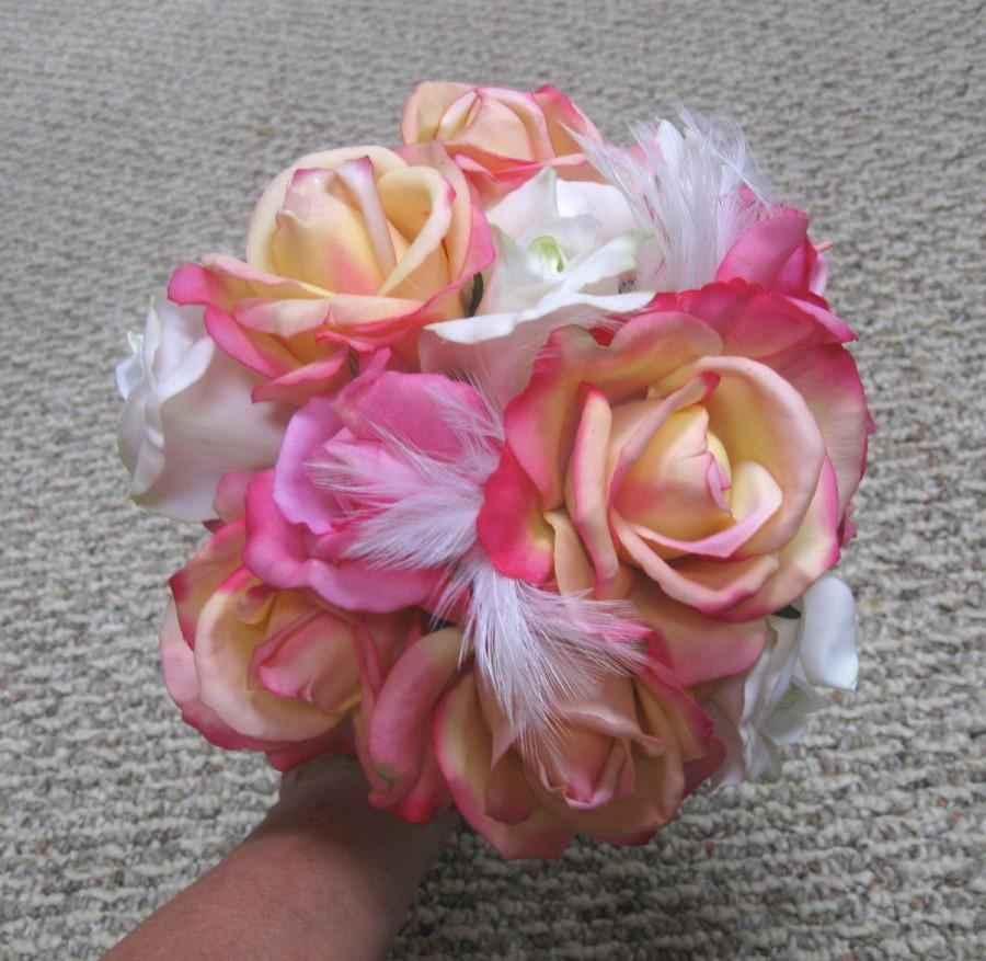 Wedding bouquet pink yellow white rose silk bridal bouquet silk wedding bouquet pink yellow white rose silk bridal bouquet silk flower bouquet real touch with white feathers izmirmasajfo