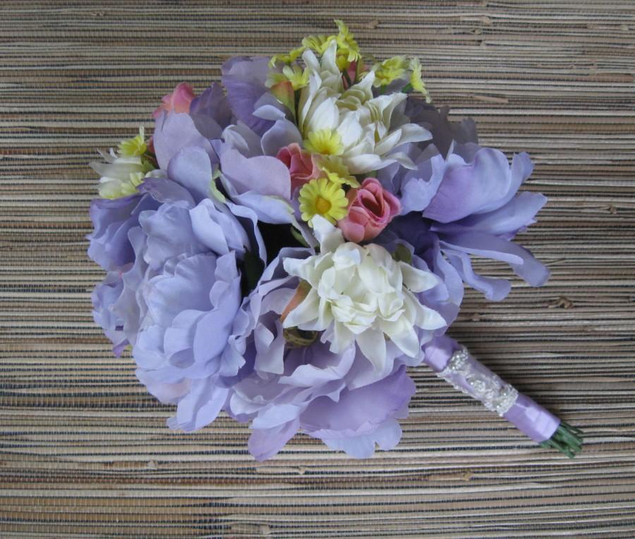 Mariage - Silk Bridal Bouquet, Wedding Flowers - Lavender Peony, White Dahlia, Pink Sweetheart Roses - Wedding Accessory, Purple Peony
