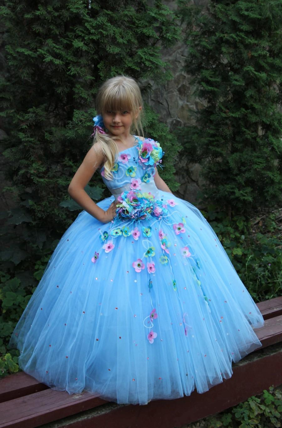 Boda - White Blue Orange Turquoise Flower Girls Dress - Birthday Wedding Party Holiday Peasant Bridesmaid Blue White Orange Tulle Dress