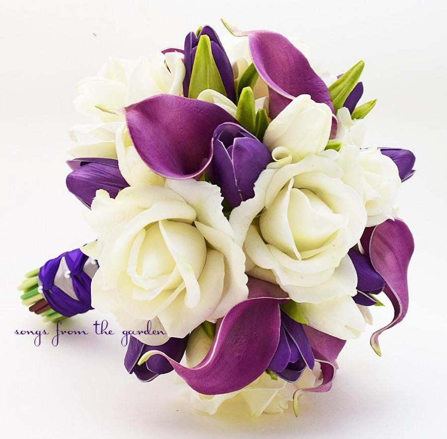 Real touch purple callas purple tulips white roses bridal bouquet real touch purple callas purple tulips white roses bridal bouquet real touch silk flower bridal bouquet customize for your colors mightylinksfo