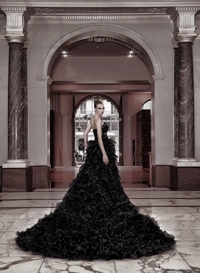 Black Gothic Couture Straples Wedding Dress With Cathedral Long