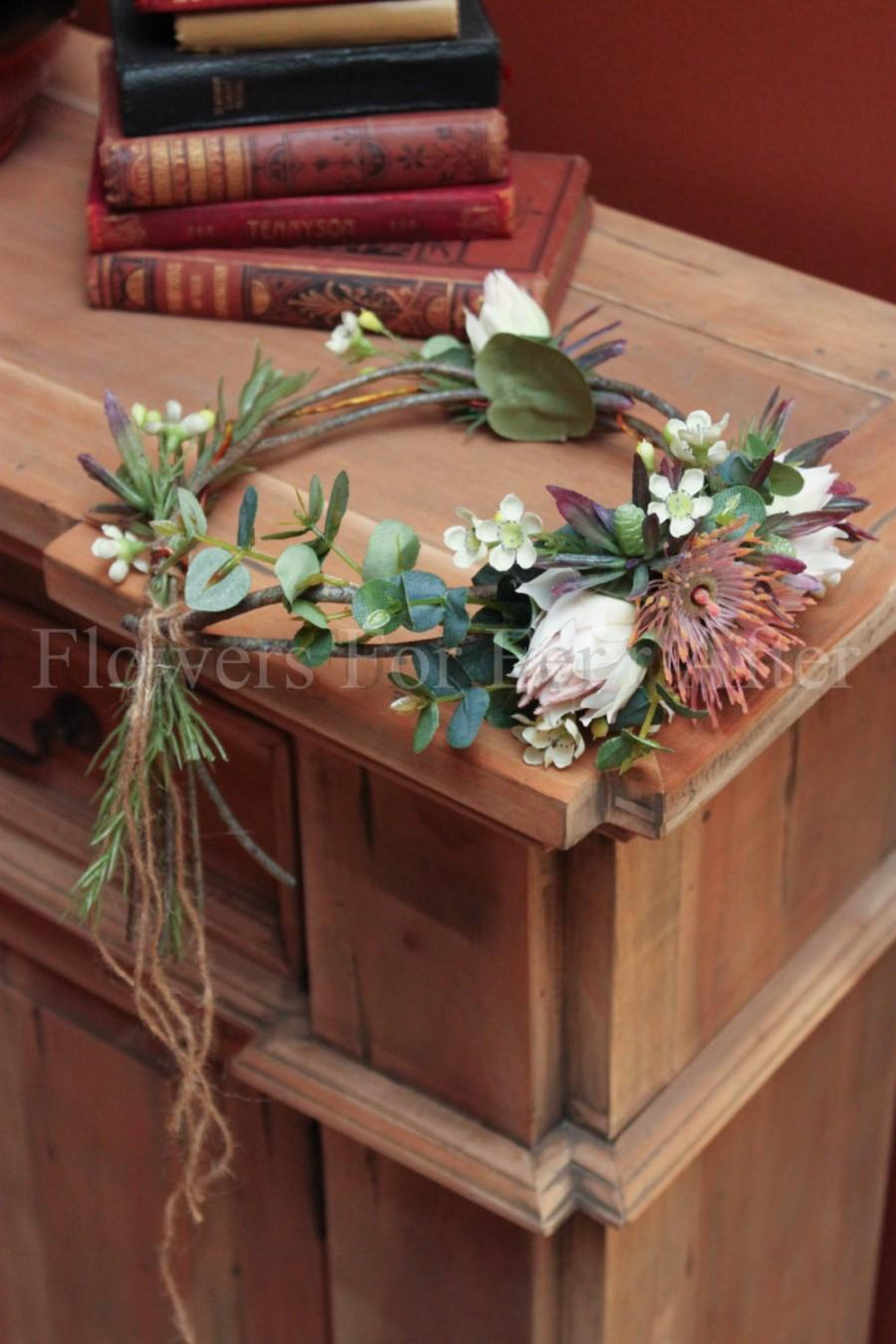 Mariage - Victoria Flower Crown, Soft Pink Protea Natives Silk Wedding Halo