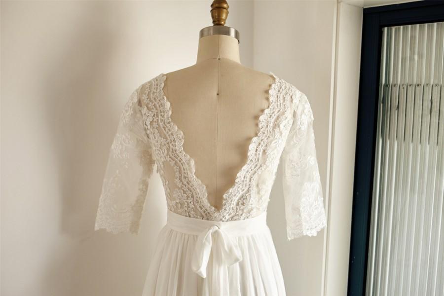 Свадьба - Boho Beach Long Lace Sleeves Chiffon Wedding Dress V Back Backless Open Back Bridal Gown
