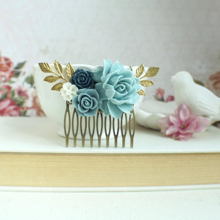Свадьба - Powder Blue Rose Comb, Light Blue Comb, Unique Flower Comb. Blue and Gold Comb Something Blue, Blue Vintage Inspired Wedding Shades of Blue