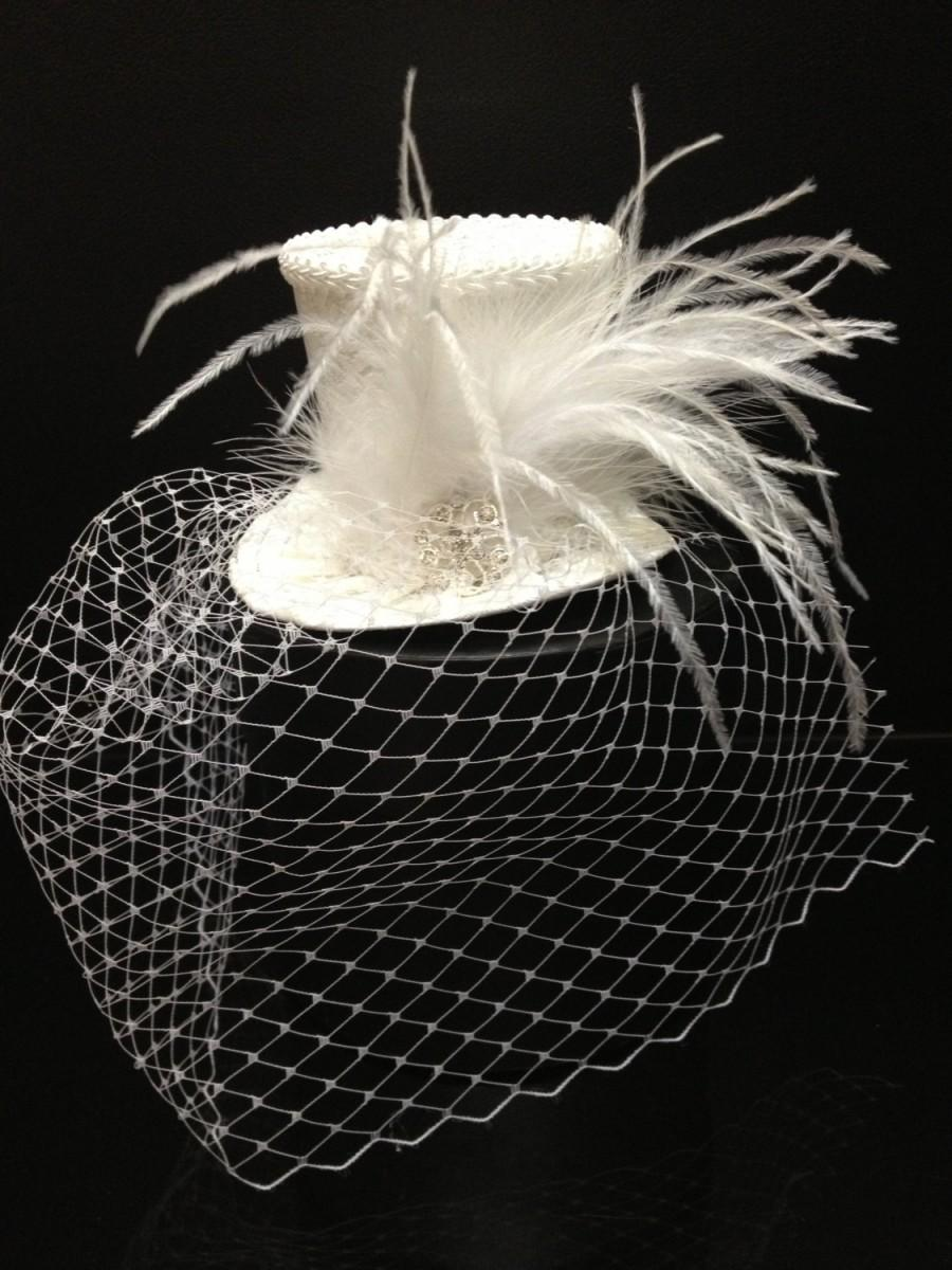 Mariage - Ivory or White Brocade Mini Top Hat With Birdcage Veil for Wedding. Dress Up, Birthday, Tea Party or Photo Prop