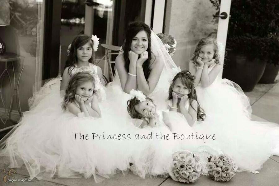 Mariage - ivory flower girl dress, ivory tulle dress, ivory tutu dress, ivory girls dress, ivory baby dress, tulle dress, christening gown, birthday