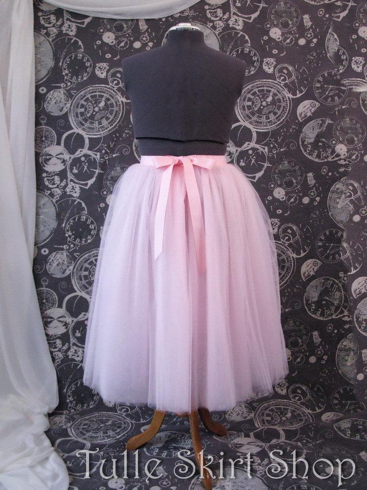 b7b33e527127 Pink Plus Size Tulle Skirt with Ribbon Waist and Ties - Tea Length Adult  Tutu - Custom Size, Made to Order