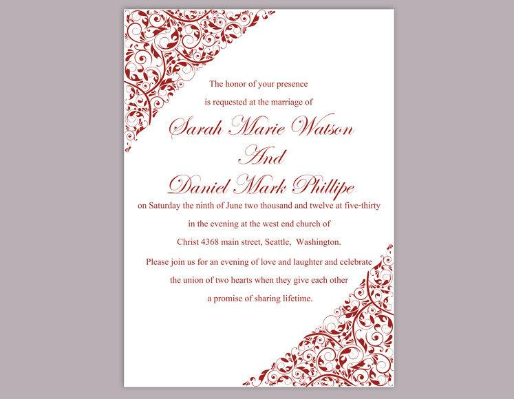diy wedding invitation template editable word file instant download