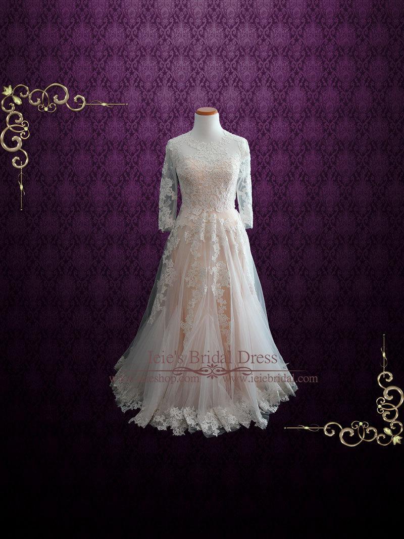 Свадьба - Modest Blush Lace Wedding Dress with Long Sleeves