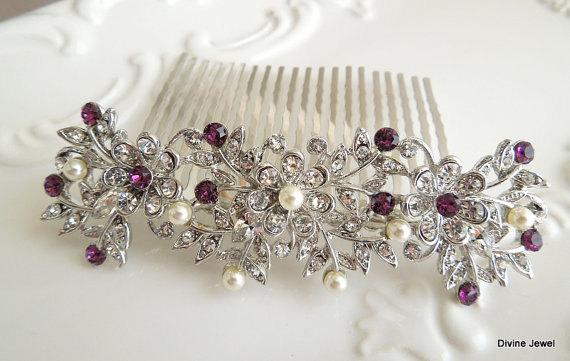 Hochzeit - Bridal Hair Comb,Pearl Bridal Hair Comb,Ivory or White Pearls,Rhinestone Hair Comb,Rhinestone Bridal Hair Comb,Purple Hair Comb,Pearl,MARLEY