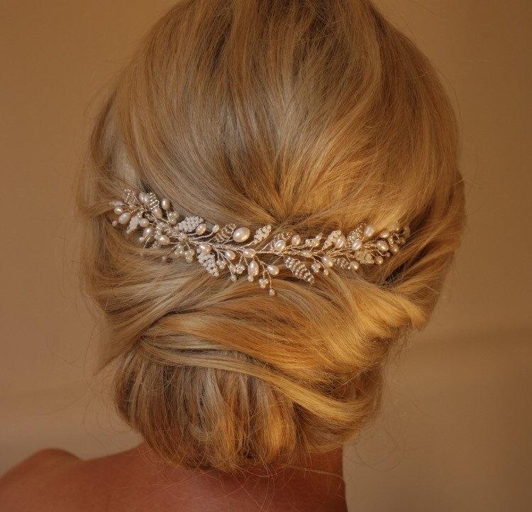 Hochzeit - Emily Hair vine- Wedding Hairvine, Bridal hairpiece, Headdress, Veil Topper, Pearl, Crystal, Adornment, Vintage, Rustic, Art Deco,