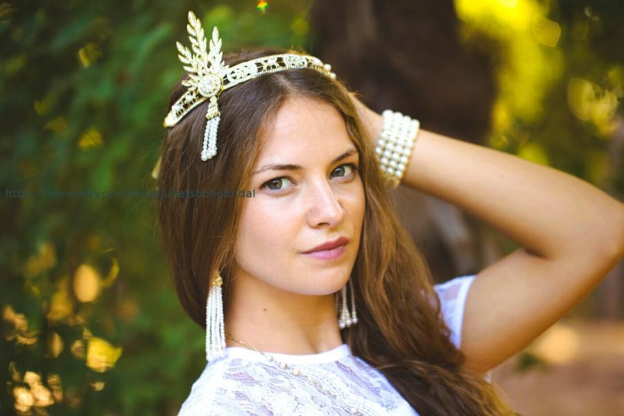 Hochzeit - GATSBY HEADPIECE, Bridal Tiara, Wedding Crown, Vintage Bridal Tiara , Art Deco Tiara, Gold Headpiece, Gatsby Headbaand , Bridal Hair Piece