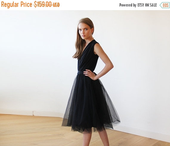 Black Midi Sleeveless Tulle Dress Black Bridesmaids Tulle Short