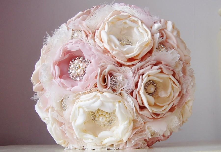 Mariage - Fabric Flower Wedding Bouquet, Brooch Bouquet,  Fabric Bridal Bouquet, Weddings, Vintage Wedding, Pink, Tan, Champagne, Off White, Ivory
