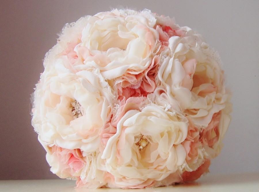 Fabric Wedding Bouquet, Brooch Bouquet, Vintage Bridal Bouquet ...