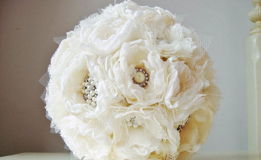 Bridal Brooch Bouquet, Wedding Bouquet, Fabric Flower Bouquet ...