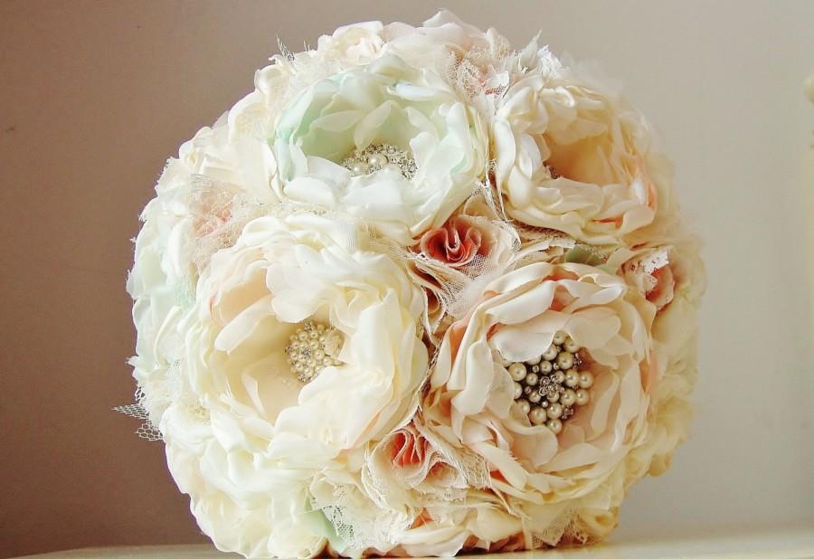 زفاف - Fabric Flower Bouquet,  Brooch Bouquet,  Vintage Wedding,  Handmade Fabric Bouquet,  Wedding Bouquet, Mint, Coral and Ivory