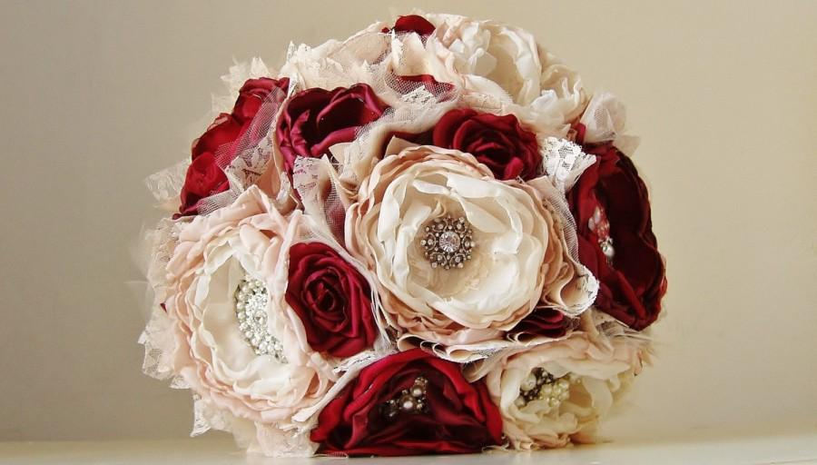 Fabric Flower Bouquet Brooch Bridal Wedding Handmade Vintage Red Tan Ivory