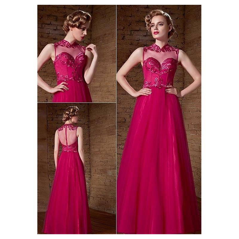 Wedding - In Stock Alluring Densified Net & Malay High Collar Neckline A-Line Prom Dresses - overpinks.com