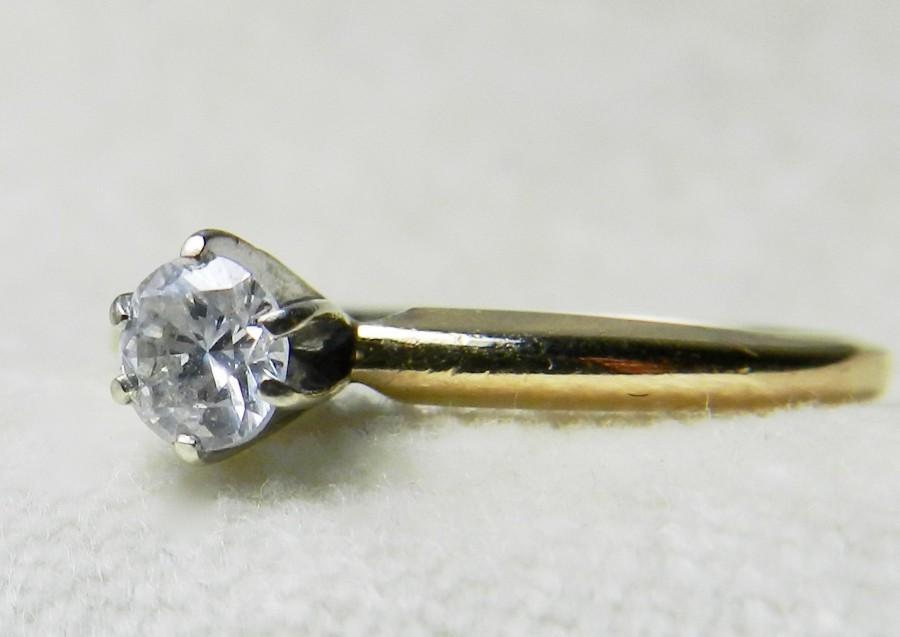 Mariage - Diamond Engagement Ring .25 Ct Diamond Solitaire Ring 14K Platinum Prongs Diamond Vintage Engagement Ring