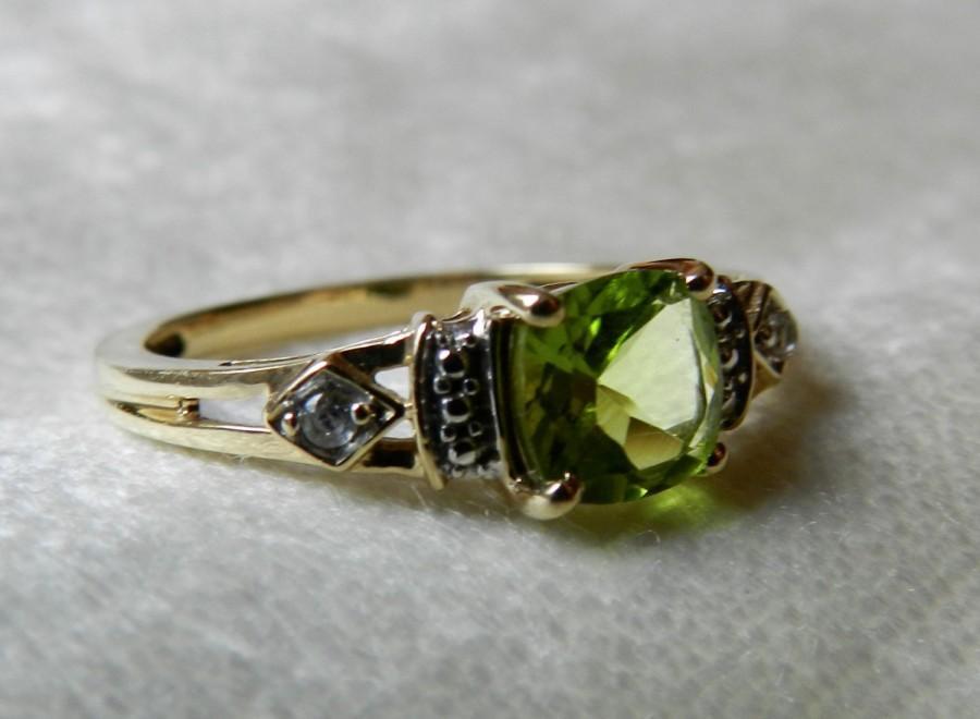 Mariage - Peridot Ring Alternative Engagement Ring Cushion Cut 1 Ct Peridot Ring August Birthday Gift Ring Peridot Diamond Ring