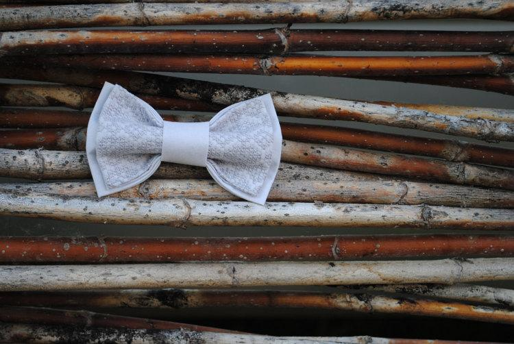 Mariage - morning gray bow tie embroidered bowtie groomsmen bow ties wedding men's tie gift for brother unisex bowties birthday gift co-worker tyyunir