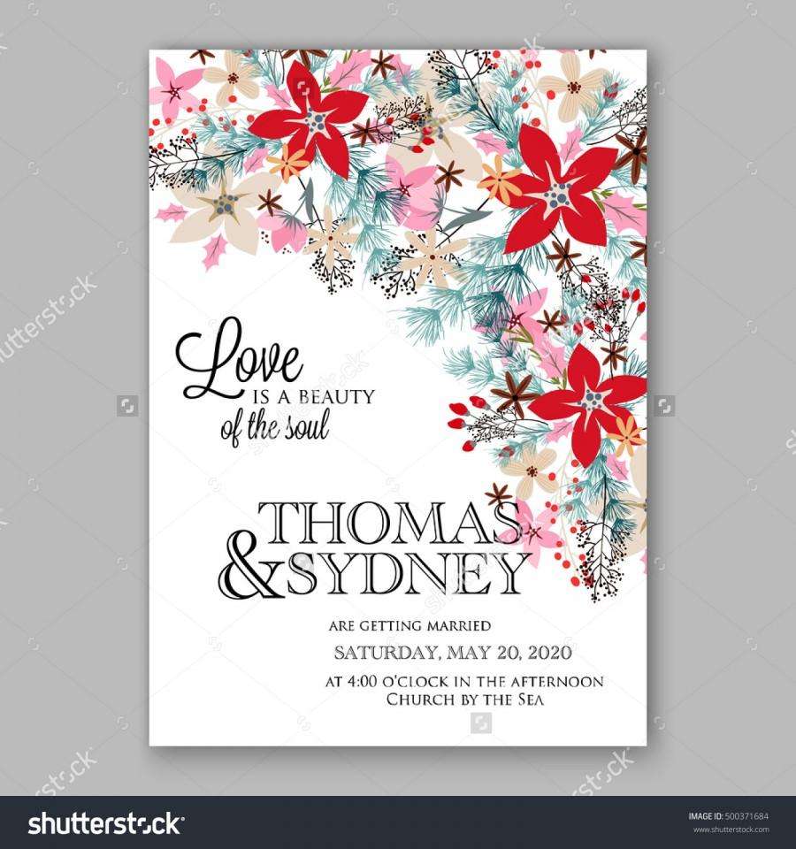 Wedding Invitation Card Template With Winter Bridal Bouquet Poinsettia Christmas Party Wreath Pine Branch Fir Tree Needle
