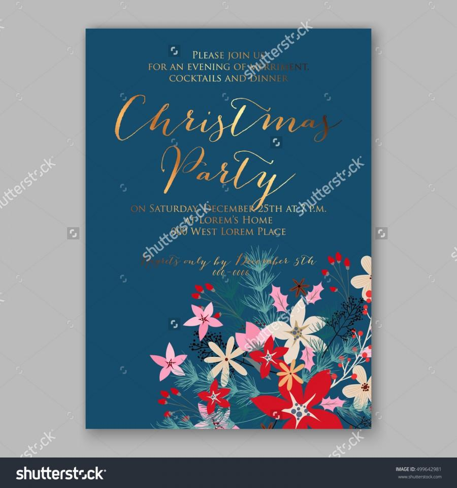 Christmas party invitation with holiday wreath of poinsettia needle christmas party invitation with holiday wreath of poinsettia needle holly wedding invitation or card with tropical floral background greeting postcard stopboris Choice Image