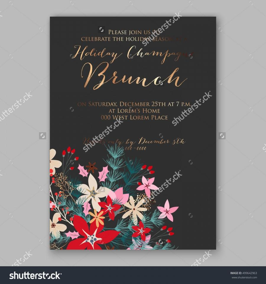 Christmas party invitation with holiday wreath of poinsettia needle christmas party invitation with holiday wreath of poinsettia needle holly wedding invitation or card with tropical floral background greeting postcard stopboris Image collections