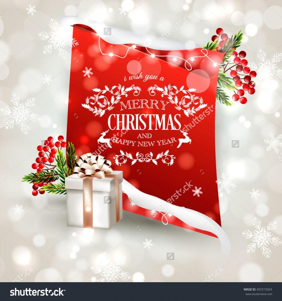 Merry Christmas And Happy New Year Invitation Template With Gift Box