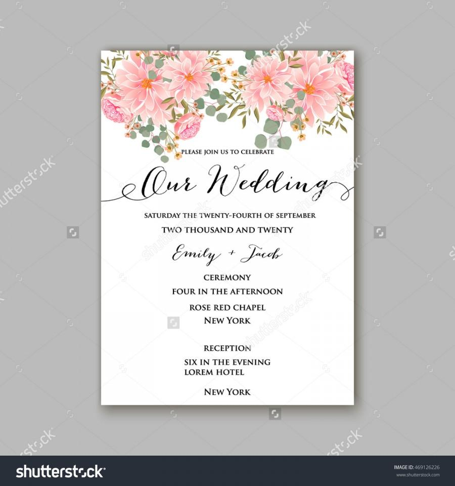 Beautiful wedding floral vector invitation sample card design frame beautiful wedding floral vector invitation sample card design frame template rose daisy red peony pink and green hydrangea camellia carnation pink stopboris Images