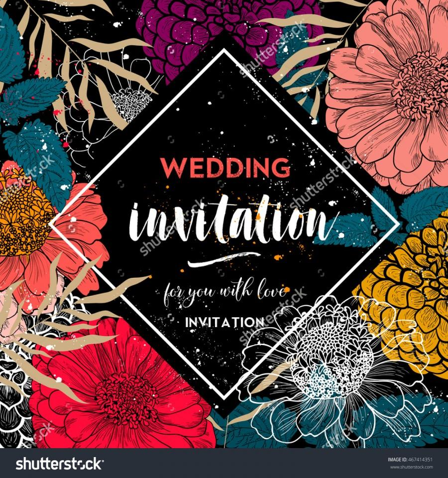 Mariage - Wedding invitation.Floral vector wedding invitation template