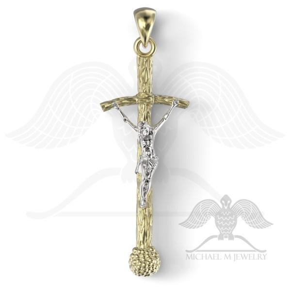 Boda - Pope Catholic Cross pendant 14kYG and 14KWG custommade, handmade, made to order - 091
