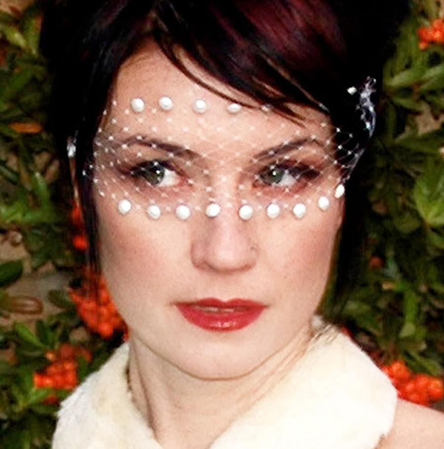 Свадьба - Romantic White Lace Bandeau Mask w/ Swarovski Pearls & French Netting - by Moonshine Baby