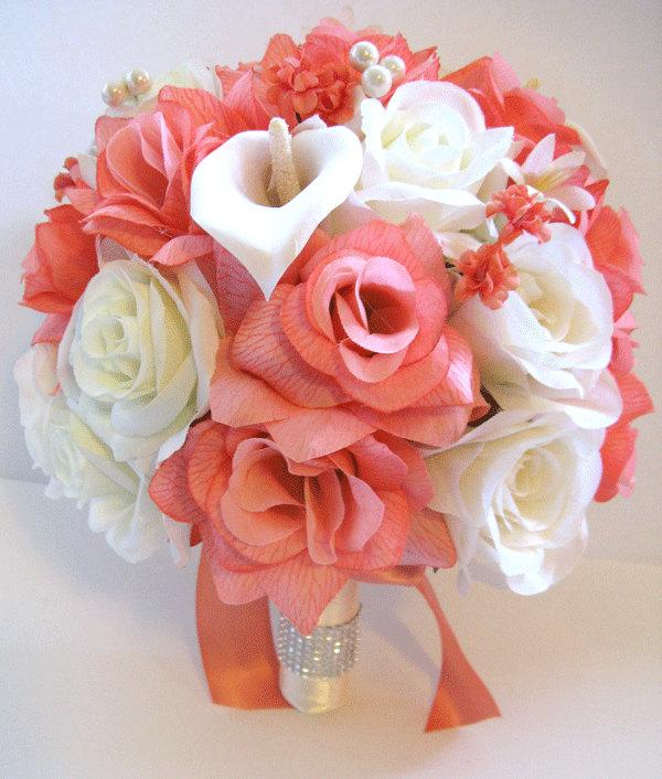 Mariage - 17 pcs Wedding Silk flower Bouquet Bridal Package peach CORAL CREAM CALLA Lily ivory Centerpieces RosesandDreams