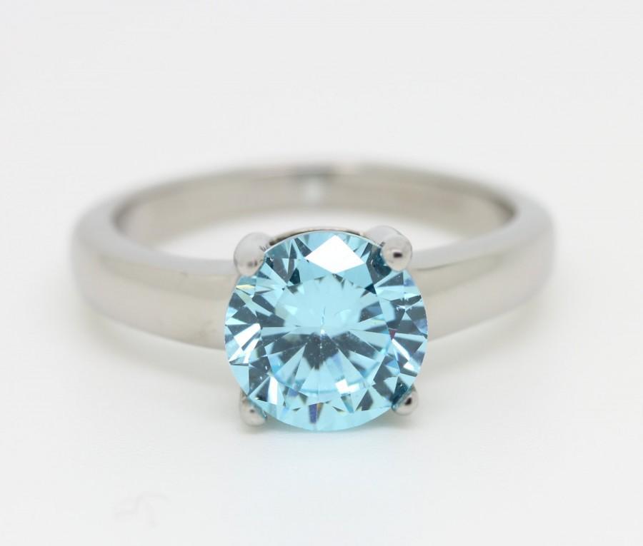 Mariage - 2ct Aquamarine Solitaire ring in Titanium or White Gold - engagement ring - wedding ring - handmade ring