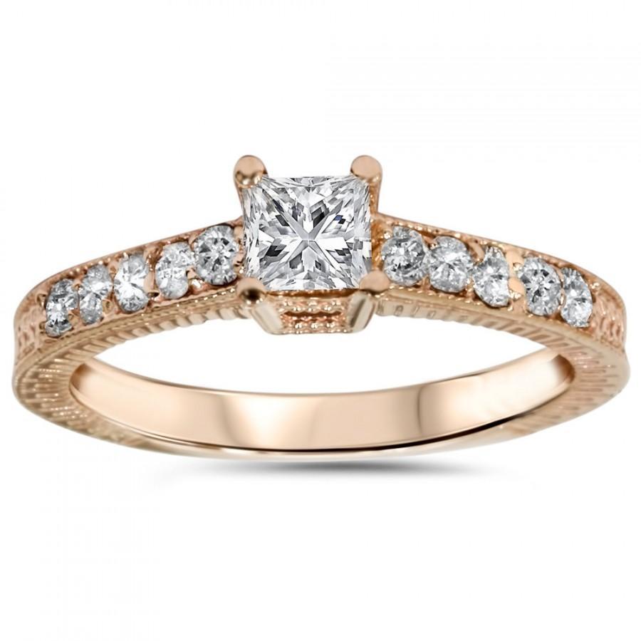 2ct Princess Cut Diamond Engagement Ring Vintage Antique Hand Engraved  Milgrian Style 14k Rose Gold Size 49