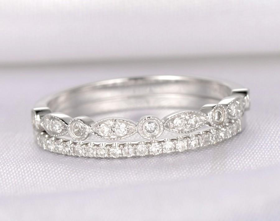 Wedding - Diamond Wedding ring set,Anniversary ring,Half eternity,art deco antique,14k White gold,Marquise Eternity Band,Personalized for her/him