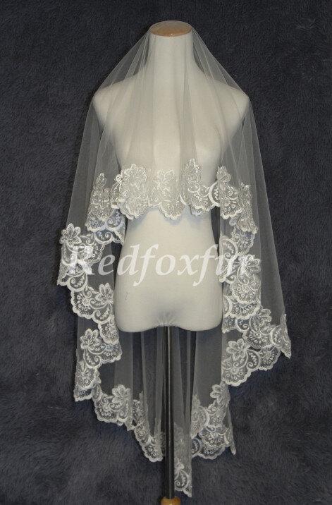 Mariage - Lace veil Bridal Veil Alencon lace veil 1.5m Ivory or white 1T Chapel veil Wedding dress veil Wedding Accessories No comb