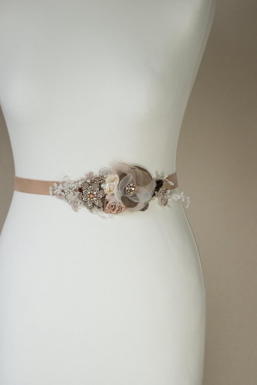 زفاف - Wedding dress belt, Rustic bridal sash, Flowered sash, floral sash, Rust wedding, Brass Champagne Rose Tan Beige Mink Brown Silver OOAK