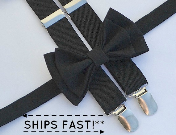 Mariage - Black Suspenders & Black Bow Tie -- Black Ring Bearer Outfit -- Boys Wedding Outfit