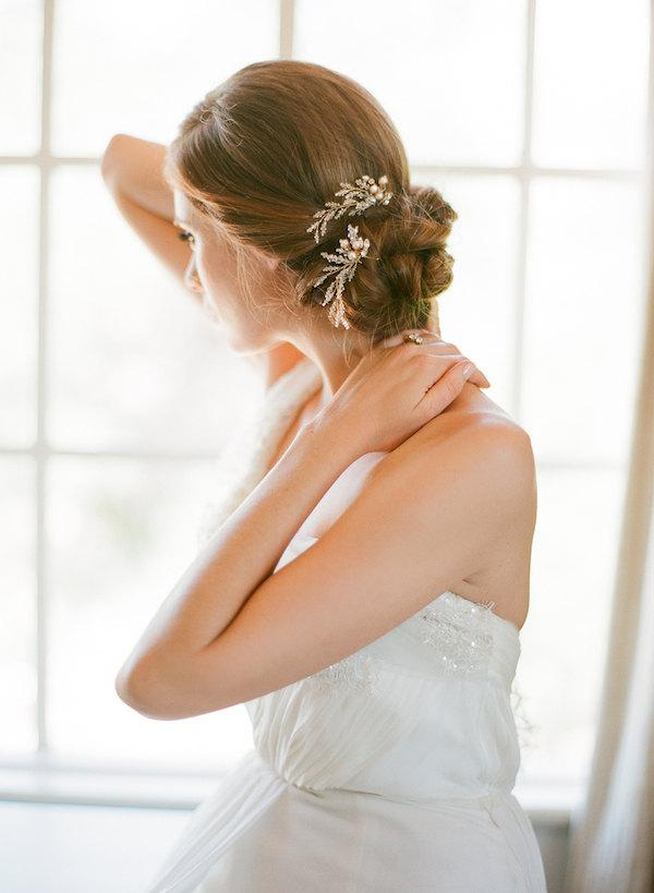 Mariage - ROSAMONDE Crystal pearl bridal hair pins in gold