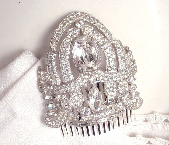 Свадьба - 20s Great Gatsby Wedding Hair Comb, Bridal HairPiece Art Deco Silver Rhinestone Dress Clip Vintage/Antique Headpiece 1920 haircomb Edwardian