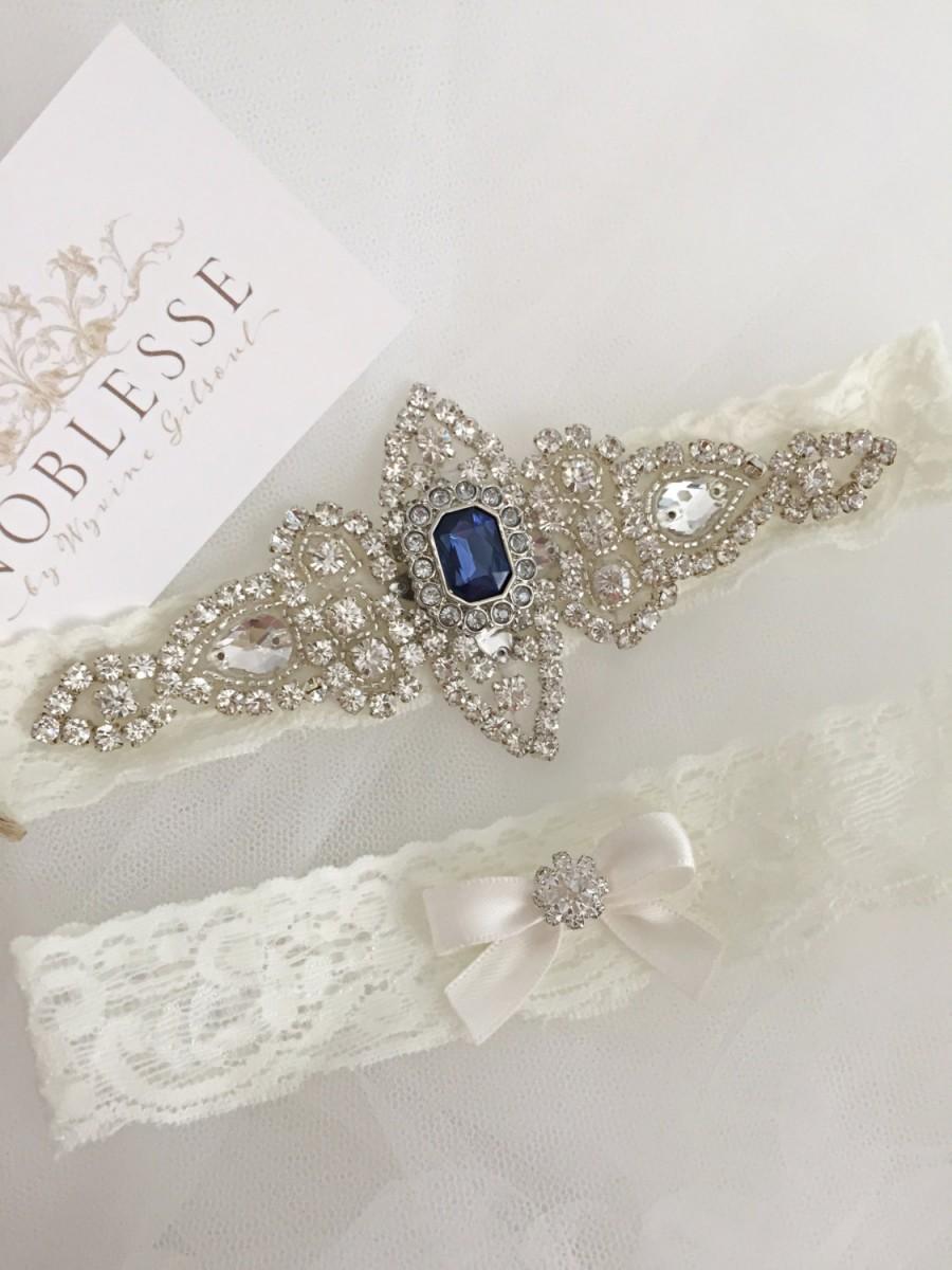 Свадьба - LAURA - Wedding garter with blue, garter something blue, ivory lace garter, bridal garter, champagne garter, garter, blue wedding garter