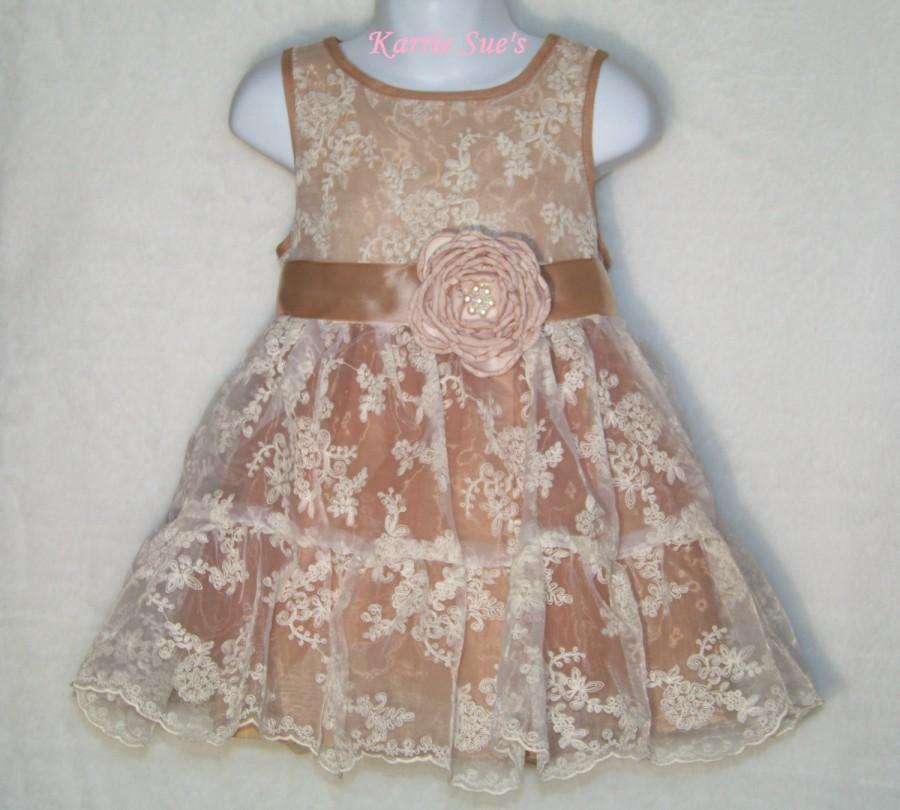 Flower Girl Dress 3t 4t Rustic Lace Dress Birthday