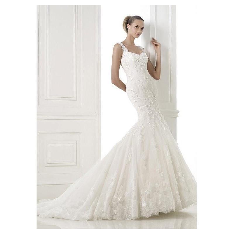 Wedding - Charming Tulle Mermaid Square Neckline Natural Waistline Wedding Dress - overpinks.com